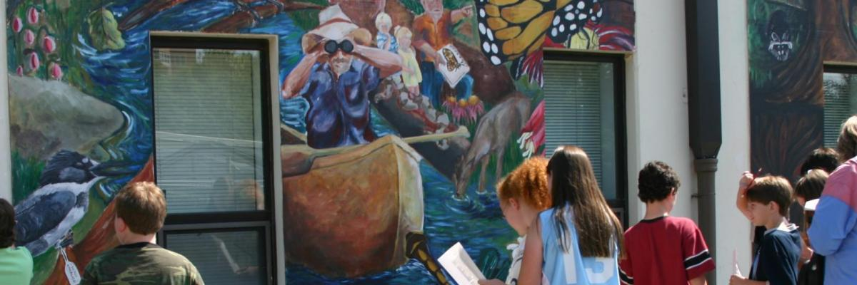 Students studying Museum Mural, 2005